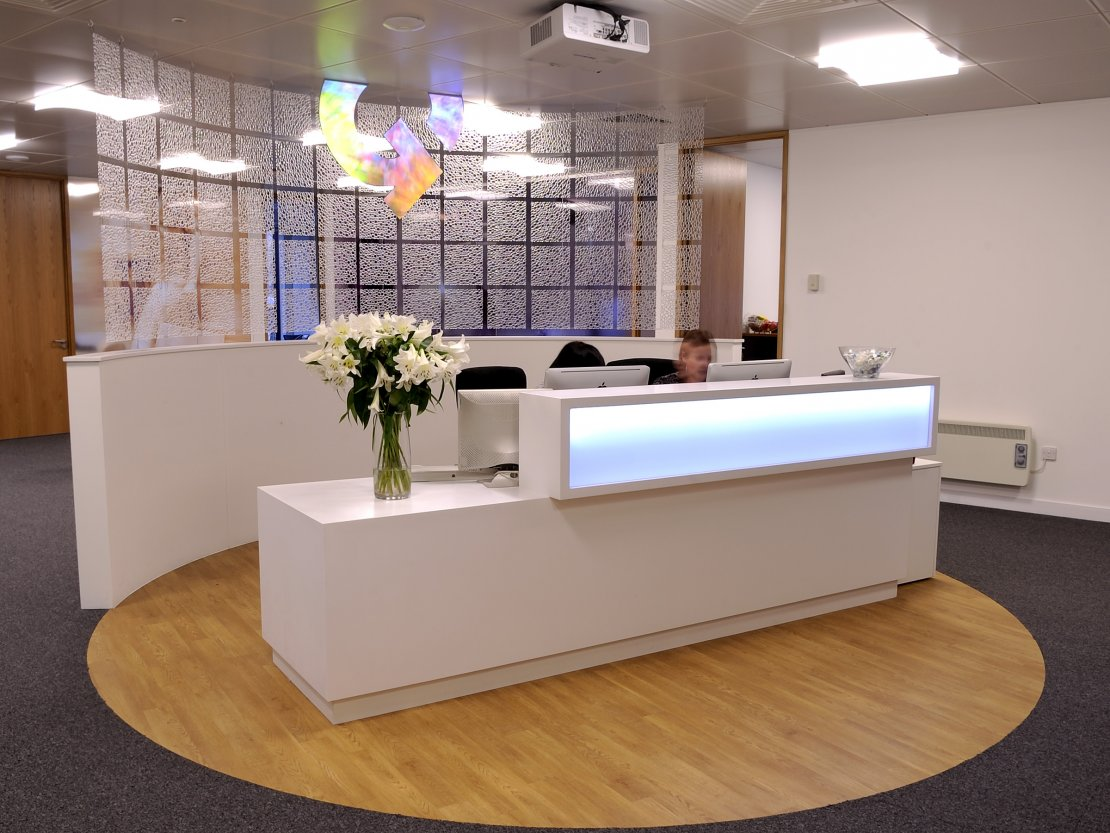 A stylish reception area is key to great office interior design. Project completed by Ben Johnson Interiors