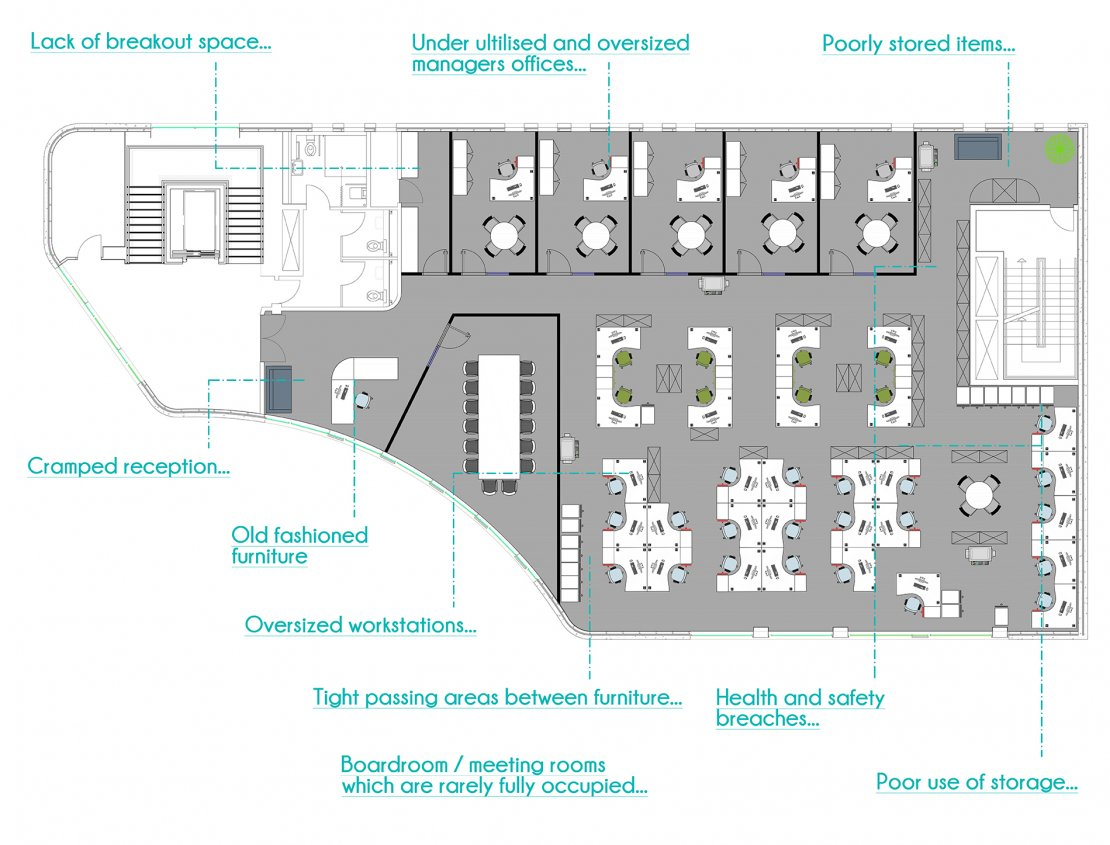 2D office layout plan