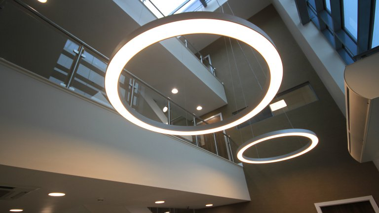 Office feature lighting by Ben Johnson Interiors