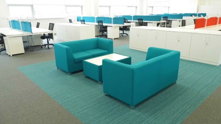 Blue sofa in office