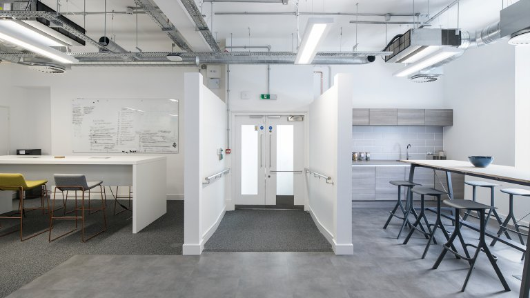 white office breakout area
