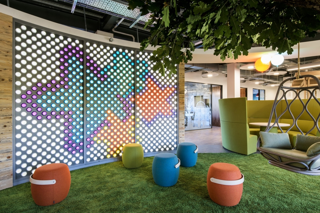 Image shows creative open space in the Mayborn Group offices. Stylish office interior design by Ben Johnson Interiors.