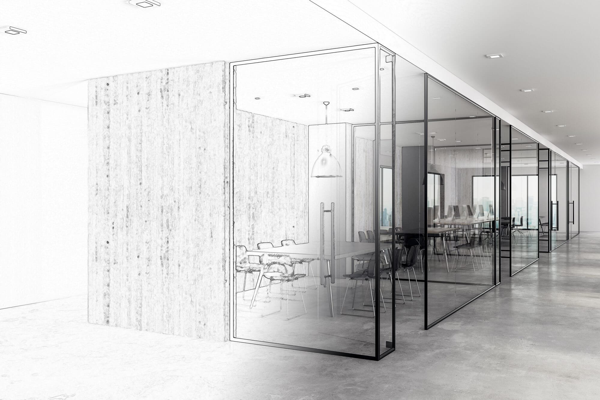 modern corporate office partition plan