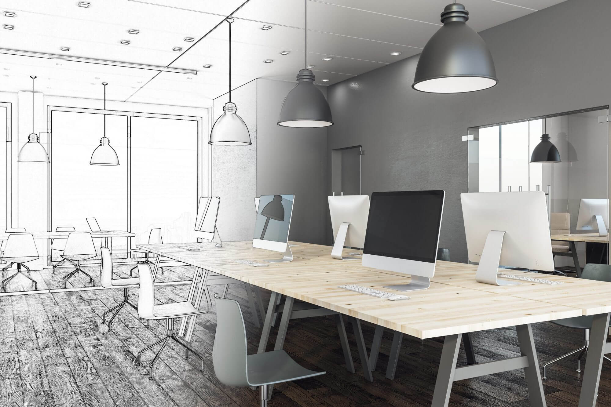 modern grey office plan