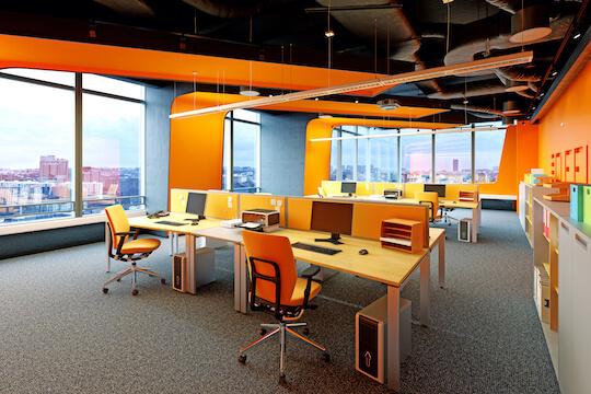 colourful orange office
